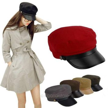 PEAPIX3 2014 Retro Women Men Leather Brim Flat Sailor Army Military Cadet Cap Sun Hats = 1932169284