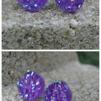 Earrings Druzy Stud Earrings Boho Jewelry Purple Druzy 12MM -Southern Stitches Co