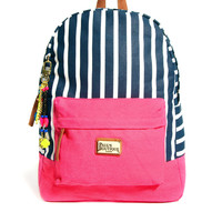 Paul's Boutique Libby Striped Backpack with Badges