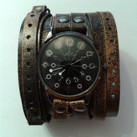 Leather Wrap Watch double strap Vintage Victorian Steampunk Cuff