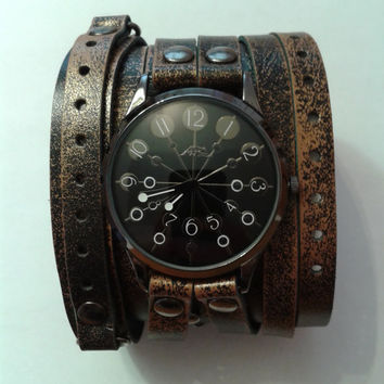 COOL Made under Vintage double strap watch handmade Unique made old leather strap Vintage Victorian Steampunk Beautifully Cuff Bracelet