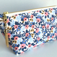 Small Makeup Bag, Floral Makeup Bag, Small Floral Pouch, Small Zipper Pouch, Blue Makeup Bag, Blue Cosmetic Bag, Small Cosmetic Bag