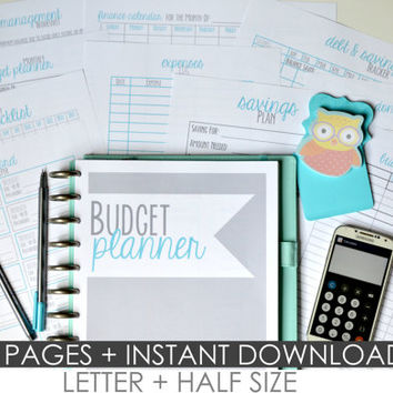 Budget Planner Printables, DIY Budget Binder, Letter Size + Half Size Included, 11 Pages each, Instant Download, Editable/Fillable, BLUE