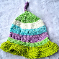 Handknit Baby Summer Hat - Colourful Knit Baby Hat - Baby Clothes - Knit Baby Hat - Summer Hat - Infant Hat - Cotton Knit Baby Hat -Knit Hat