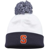 Top of the World Syracuse Orange White Grid Iron Cuffed Knit Beanie with Pom