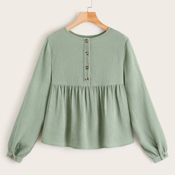 Solid Button Front Babydoll Blouse