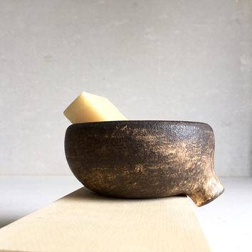 DIRTY BROWN Soap Dish with strainer for bathroom sink, ceramic, pottery, handmade, soapdish, soap tray, soap holder