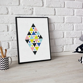 Colorful Tiangles, Geometric Art, Aztec Poster, Aztec Wall Art, Home Decor, Nursery Print, Geometric Print, Aztec Art, Nuresry Decor, 8x10