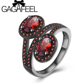 GAGAFEEL Unique Two Flowers Floral Rings For Women Fashion Design Black Gold Filled Jewelry Vintage Wedding Rings US Size