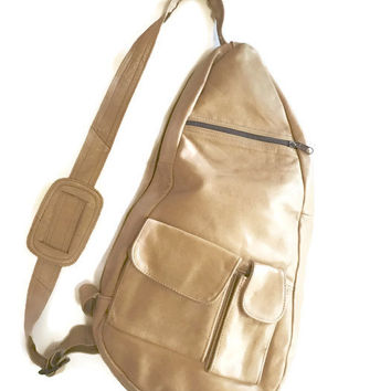 Vintage natural tan Leather Sling backpack,  Butter Soft Leather bag