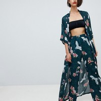 Club L Long Sleeve Maxi Printed Kimono at asos.com