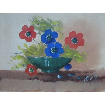 Still Life Poppies Impressionist Oil On Canvas Signed by Ruiz