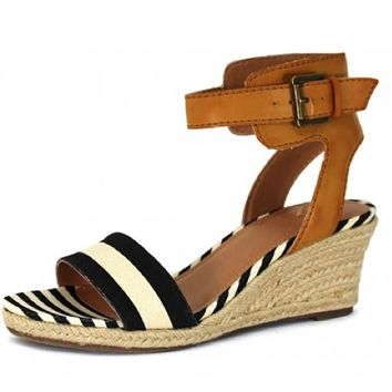 Madeline Skate Black Stripe Wedge Sandals
