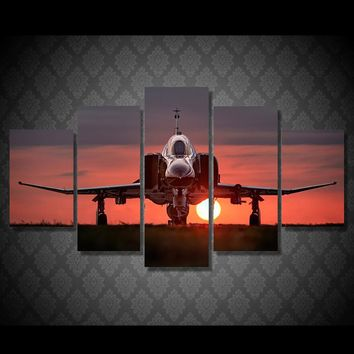 Sunset plane military jet wall art on canvas print