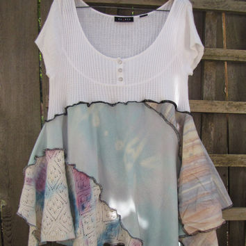 Pastel Pixie Tunic Top Lagenlook Upcycled/ Funky Asymmetrical Tie Dye Eco Shirt Blouse/ Hi Lo Womens Tops L/XL 1X Plus Size