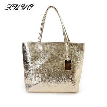 LUYO Crocodile Pattern Leather Fashion Large Capacity Casual Shopping Girls Shoulder Bag Gold Clutch Women Tote Bags Female