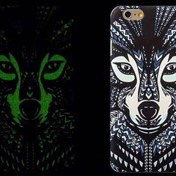 So Cool Night King Wolf Animal Handmade Carving Luminous Light Up iPhone creative cases for 5S 6 6S Plus Free Shipping