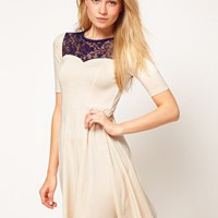 ASOS Skater Dress With Lace Insert at asos.com
