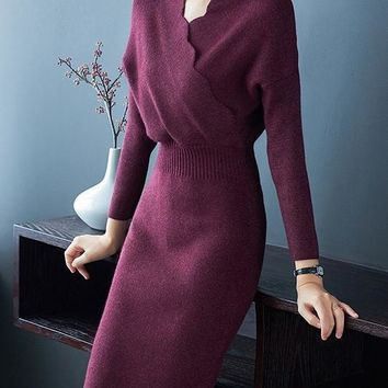 Scallop V Neck Sweater Dress
