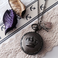 Crown Pocket Watch locket necklace - bridesmaid gift - initial letters