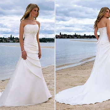 Beach Wedding Dress with Bling
