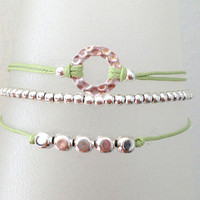 Triple Silver Friendship Bracelet with Adjustable Cord in Light Green