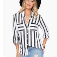 White Black Vertical Striped Long Sleeve Blouse