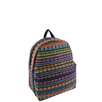Tribal Pattern Woven Backpack