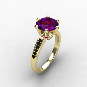 Best Black Gold Amethyst Engagement Rings Products on Wanelo 02aa002a54ef