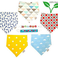 Koodie Baby Bandana Drool Set - 5 Unisex Boys & Girls Bibs Set | Highly Absorbent Organic Cotton No Polyester Drool Bib & Teether Clips | Bonus 2 Pacifier Clips