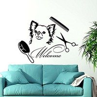 Dog Wall Decals Welcome Grooming Salon Decal Vinyl Sticker Pet Shop Animals Decor Interior Design Art Mural C580