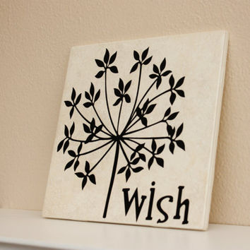 Dandelion Wish Decorative Tile Silhouette From