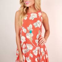 My Favorite Bouquet Floral Shift Dress in Tangerine