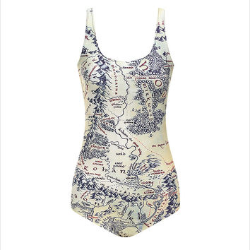 World Map Print Dreamin Tank Top Shirt for Women