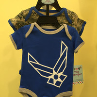 Infant / Baby Air Force ABU Camo Bodysuits 2pk Blue