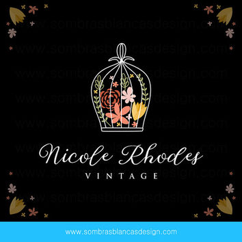 OOAK Premade Logo Design - Floral Bird Cage - Perfect for a floral artist or a vintage shop