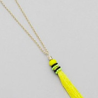Fabric Tassel Necklace - Yellow