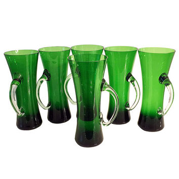 Mid Century Blown Glass Beer Mugs, Green Art Glass Barware