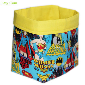 NEW Wonder Woman Storage Bin | Batgirl Fabric Basket | Supergirl Desk Organizer | Women Superheros Fabric Storage Bin