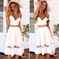 Spaghetti Strap Patchwork Crop Top with Long Skirt Two-piece Dress