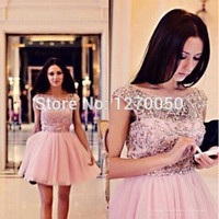 Aliexpress.com : Buy 2014 New Arrival Pink Mini Bead Cocktail Party Dresses Short Prom Dresses Party Gown Custom Made Dress from Reliable dresses companies suppliers on OSEPE
