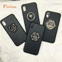 Hot PHILIPP PLEIN leather Tiger Lion hard cover case for iphone 6 6S S plus 7 7plus 8 8plus X fashion gold luxury phone cases