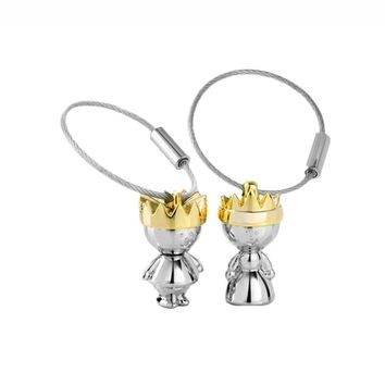 Cool New Arrival Little King & Little Queen Couple Keychain Creative Love Fashion Valentine Gift Key Chain Ring KeyringAT_93_12