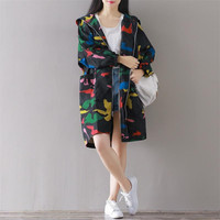 2016 Autumn New Fashion Art Hooded Loose Simple Classics Windbreaker Bat Sleeved Zipper Camouflage Plus Size Leisure Trench Coat