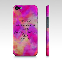 Pure in Heart - iPhone 4 5 5S 5C 6 Hard Case Ombre Pink Purple Chevron Bible Verse Proverbs Art Christian God Abstract Scripture Biblical