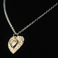 Handmade Heart Necklace 14k Gold Hammered Heart Pendant Sterling Silver Heart Gold Silver Heart Pendant Necklace