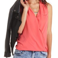 Draped Chiffon Sleeveless Wrap Top by Charlotte Russe - Teaberry