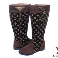 LV Louis Vuitton Women Fashion Leather High Boot Heels Shoes