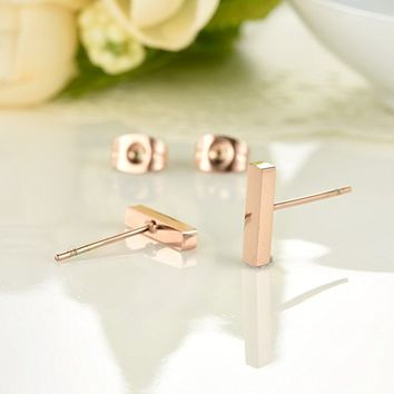 Rectangle Bar Stud Earrings Rose Gold Plated Stainless Steel Earring for Women
