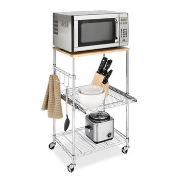 Metal Microwave Kitchen Cart with Adjustable Shelves and Locking Wheels